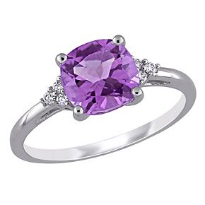 Stella Grace 10k White Gold Amethyst & Diamond Accent Ring