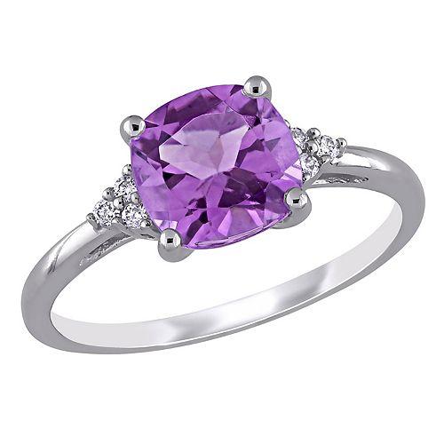 Stella Grace 10k White Gold Amethyst & Diamond Accent Ring