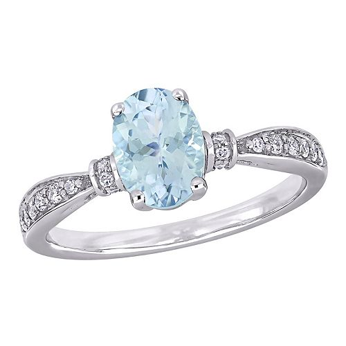 Stella Grace 10k White Gold Aquamarine & 1/6 ct. Diamond Ring