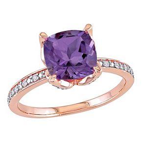 Stella Grace 10k Rose Gold Amethyst & Diamond Accent Ring