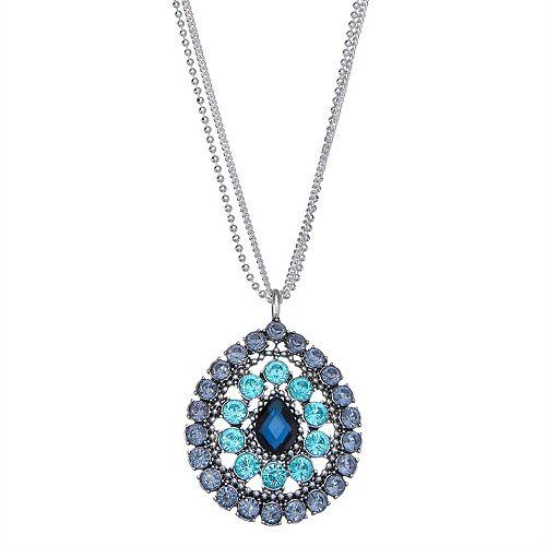 Dana Buchman Silver Tone Blue Feather Drop Pendant Necklace