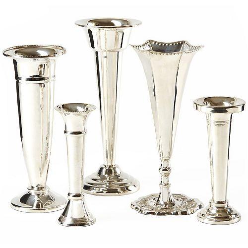 Plaza Set of 5 Silver Vases