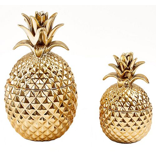 Set of 2 Gold Pineapple Jars with Lids