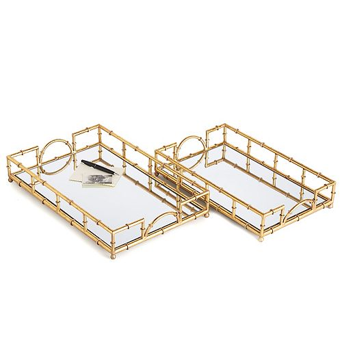 Set of 2 Mirrored Glass Trays