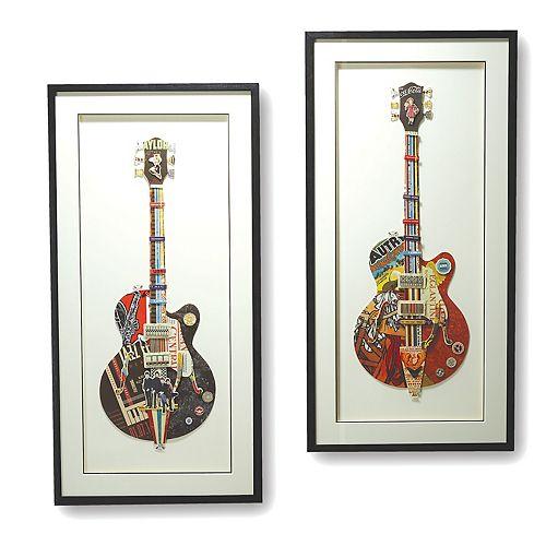Set of 2 Paper Cut Guitar Art