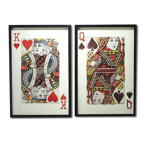 Set of 2 Paper Cut King & Queen Wall Art