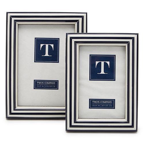 Set of 2 Blue & White Photo Frames