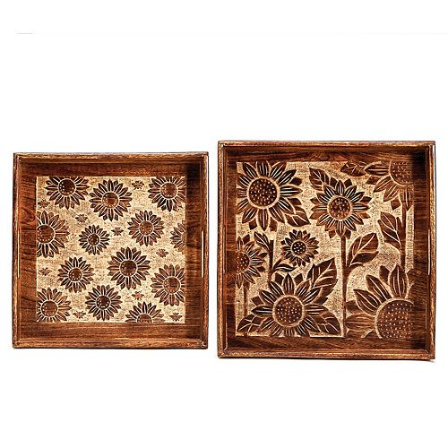 Set of 2 Hand-Carved Nested Trays