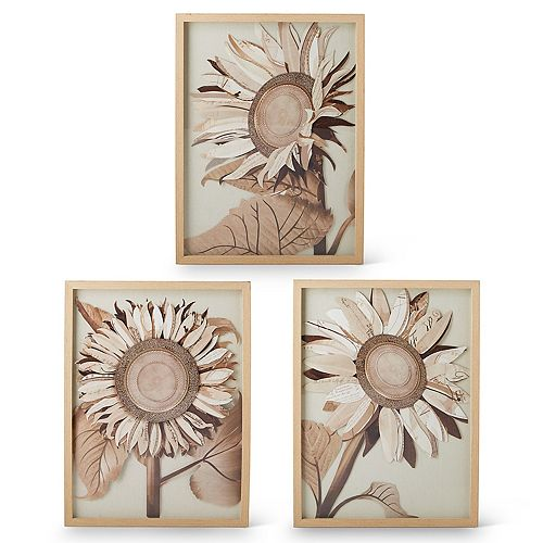 Set of 3 Sunflowers Collage Wall Art