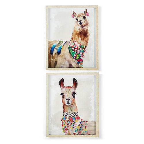 Set of 2 Hand-Painted Llama Wall Art