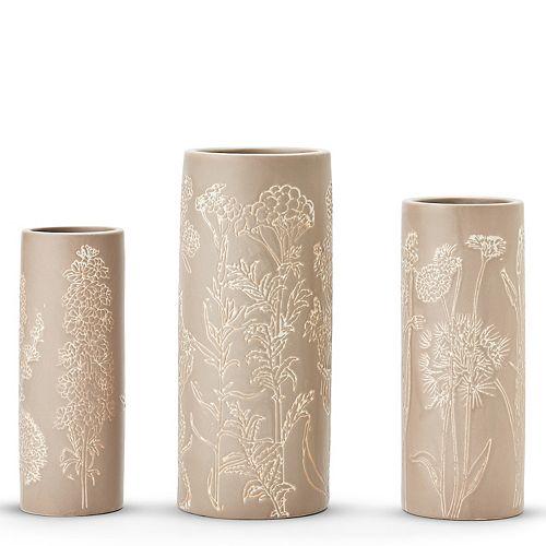 Set of 3 Natura Floral Motif Vases