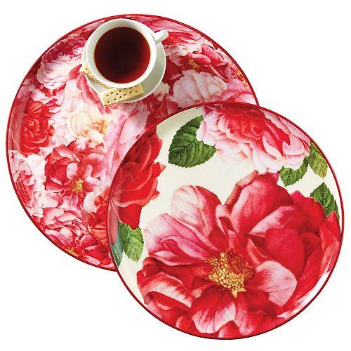 Set of 2 Rose Print Trays
