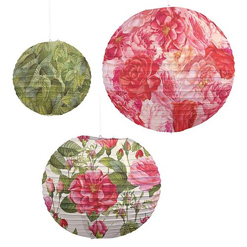 Set of 3 Rose Pattern Lanterns