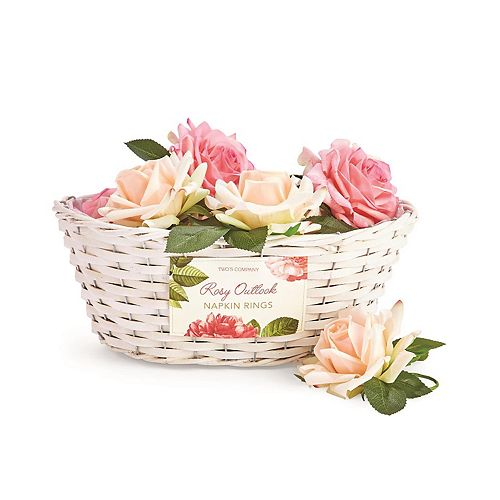 32 Piece Rose Napkin Ring Unit with Basket