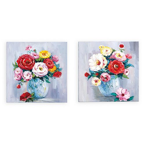 Set of 2 Hand-Painted Roses Wall Art