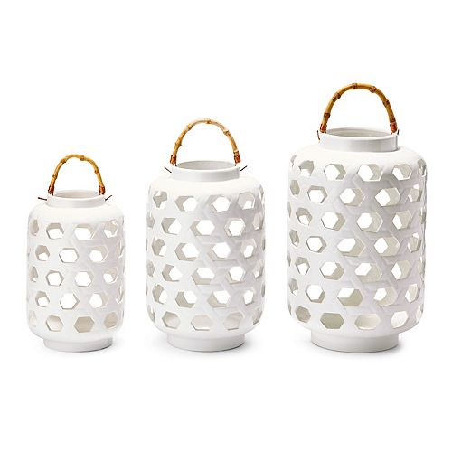 Set of 3 Lanterns with Bamboo Handle