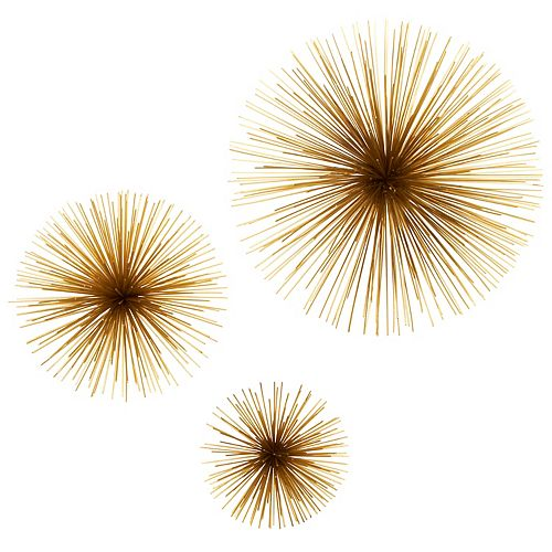 Set of 3 Gold Floral Wall Sculptures
