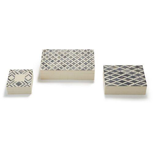 Set of 3 Slate Bone Boxes