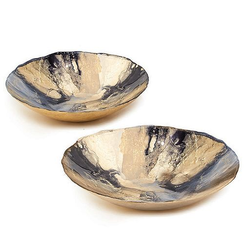 Set of 2 Gold and Black Bowls