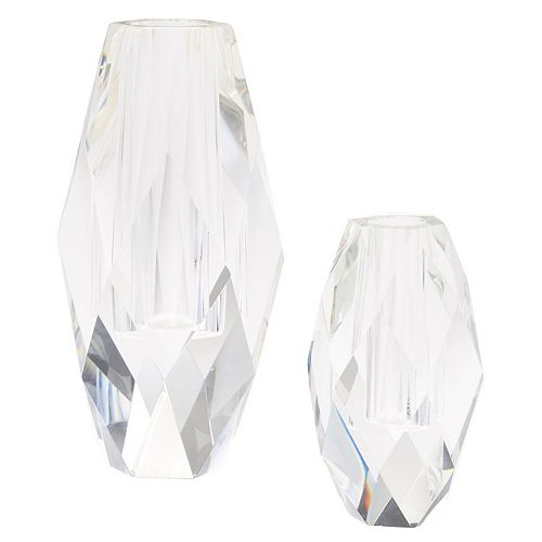 Set of 2 Oval Faceted Glass Vases