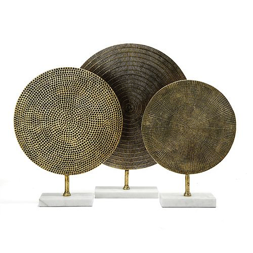 Set of 3 Textured Metal Sculptures