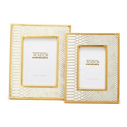 Set of 2 White Python Photo Frames