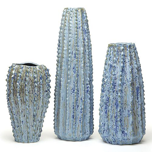 Set of 3 Blue Ribbed Ceramic Vases