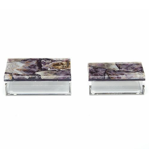 Set of 2 Genuine Amethyst Boxes