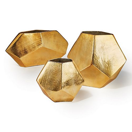 Set of 3 Gold Diamond Shaped Decor Vases