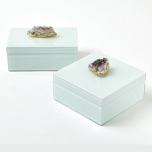Set of 2 Hinged Amethyst White Glass Boxes