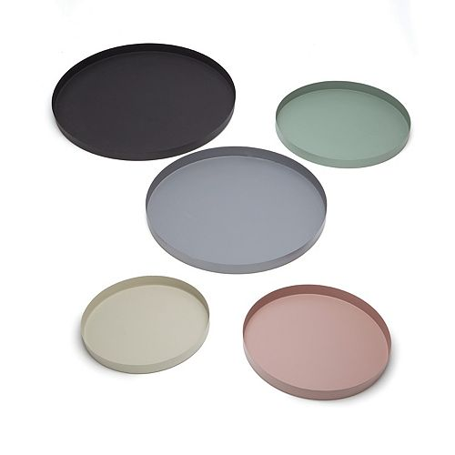 Set of 5 Textured Powder Multicolor Trays