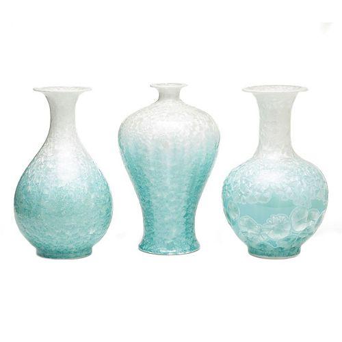 Set of 3 Mop Effect Vases