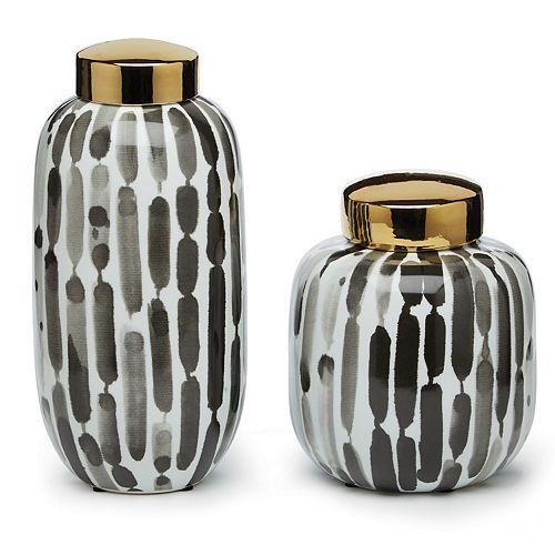 Set of 2 Black And White Covered Jars Lid