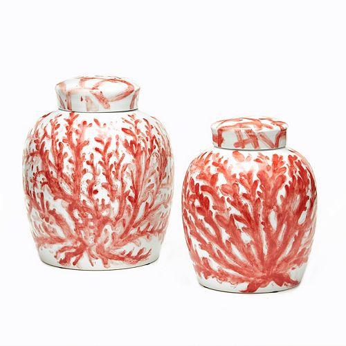 Corals Set of 2 Covered Ginger Jars