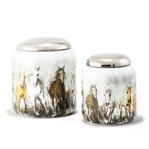 Wild Horses Set of 2 Covered Jars