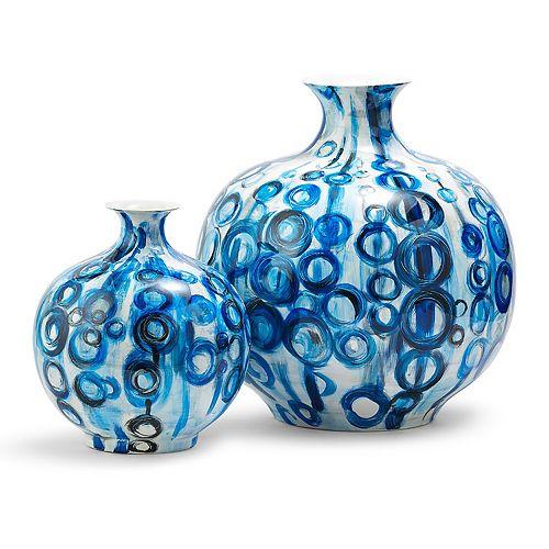 Set of 2 Blue Vases