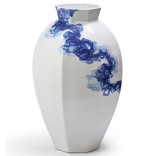 White and Blue Hand Painted Octagon Vase