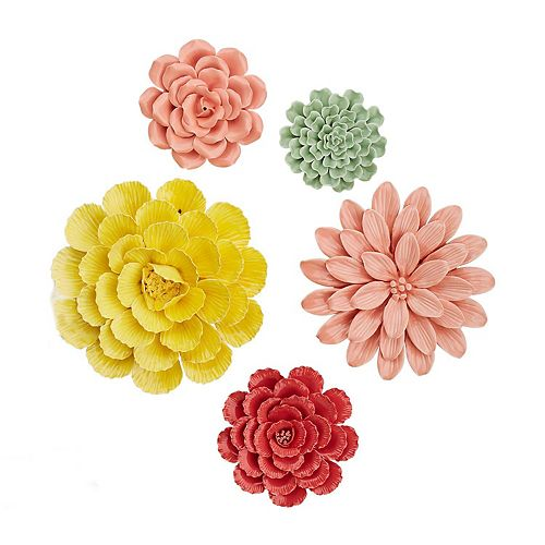 Set of 5 Assorted Colored Floral Wall Art