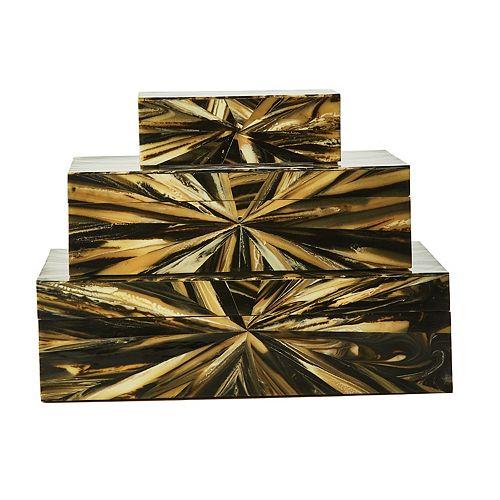 Set of 3 Faux Petrified Wood Boxes