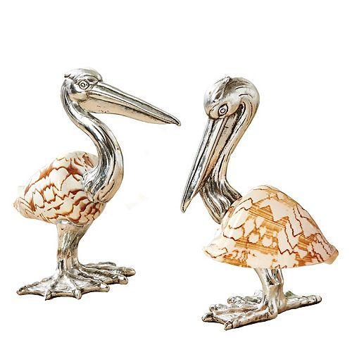 Set of 2 Shell Sculpture Pelicans