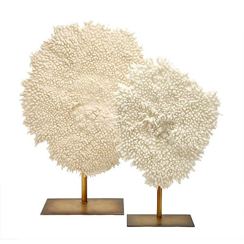 Set of 2 White Coral Sculptures on Stand