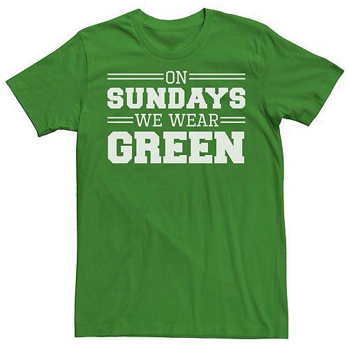 Men's On Sundays We Wear Green Graphic Tee