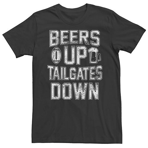 Men's Beers Up, Tailgates Down Graphic Tee