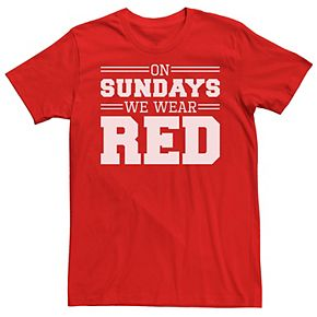 Men's On Sundays We Wear Red Graphic Tee