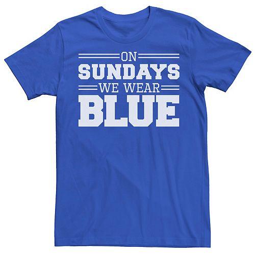 Men's On Sundays We Wear Blue Graphic Tee