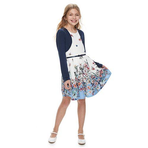 Girls 7-16 & Plus Size Knitworks Floral Skater Dress & Shrug Set
