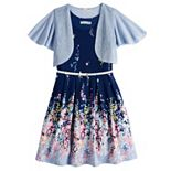 Girls 7-16 & Plus Size Knitworks Pleated Floral Skater Dress & Shrug Set