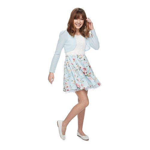 Girls 7-16 & Plus Size Knitworks Floral Lace Skater Dress & Shrug Set