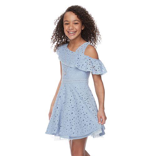 Girls 7-16 & Plus Size Knitworks Ruffle One-Shoulder Skater Dress
