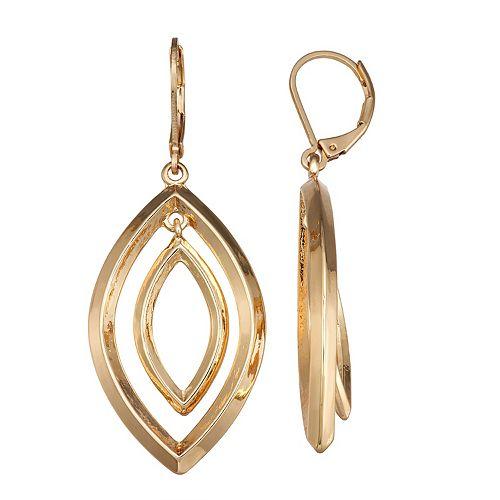 Dana Buchman Gold Tone Open-Orbital Drop Earrings